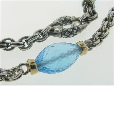 image of Scott Kay Sterling 18k Gold Blue Topaz Necklace