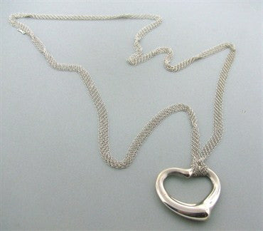 thumbnail image of Estate Tiffany & Co Peretti Sterling Mesh Necklace Open Heart Pendant