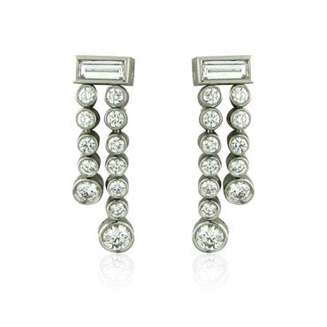 thumbnail image of Tiffany & Co Jazz Double Drop Platinum Diamond Earrings
