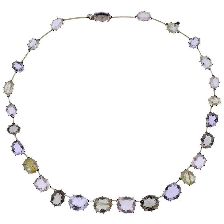 thumbnail image of H. Stern Sunrise Quartz Amethyst Diamond Gold Necklace