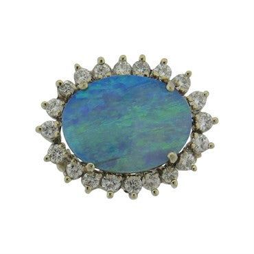 image of 14k Gold 1.50ctw Diamond Opal Pendant Brooch