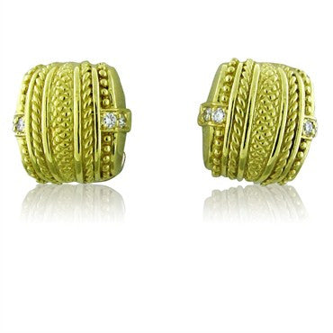 image of Judith Ripka 18K Yellow Gold Diamond Earrings
