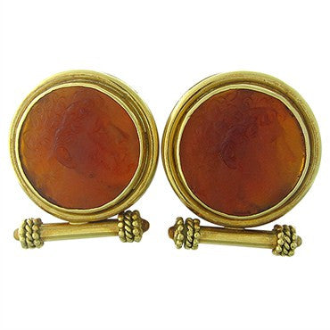 image of Elizabeth Locke 18K Gold Venetian Glass Intaglio Citrine Earrings