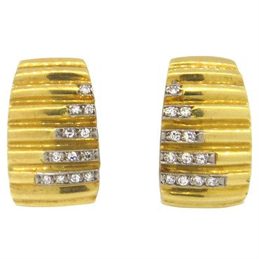 image of H Stern Diamond 18k Gold Half Hoop Earrings