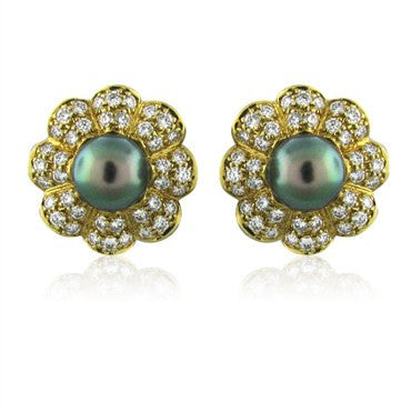 thumbnail image of New Gumuchian 18K Gold 2.55ctw Diamond Black Pearl Earrings