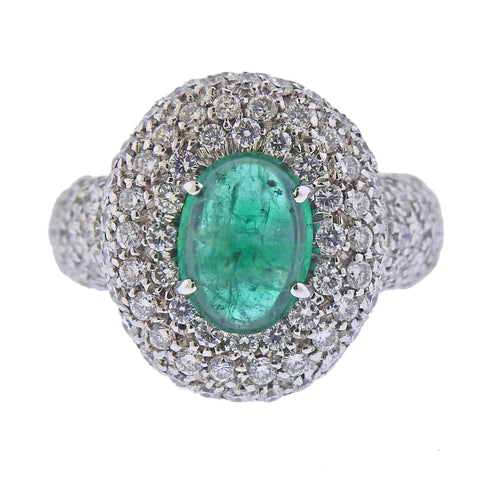 image of Gold Diamond Emerald Ring