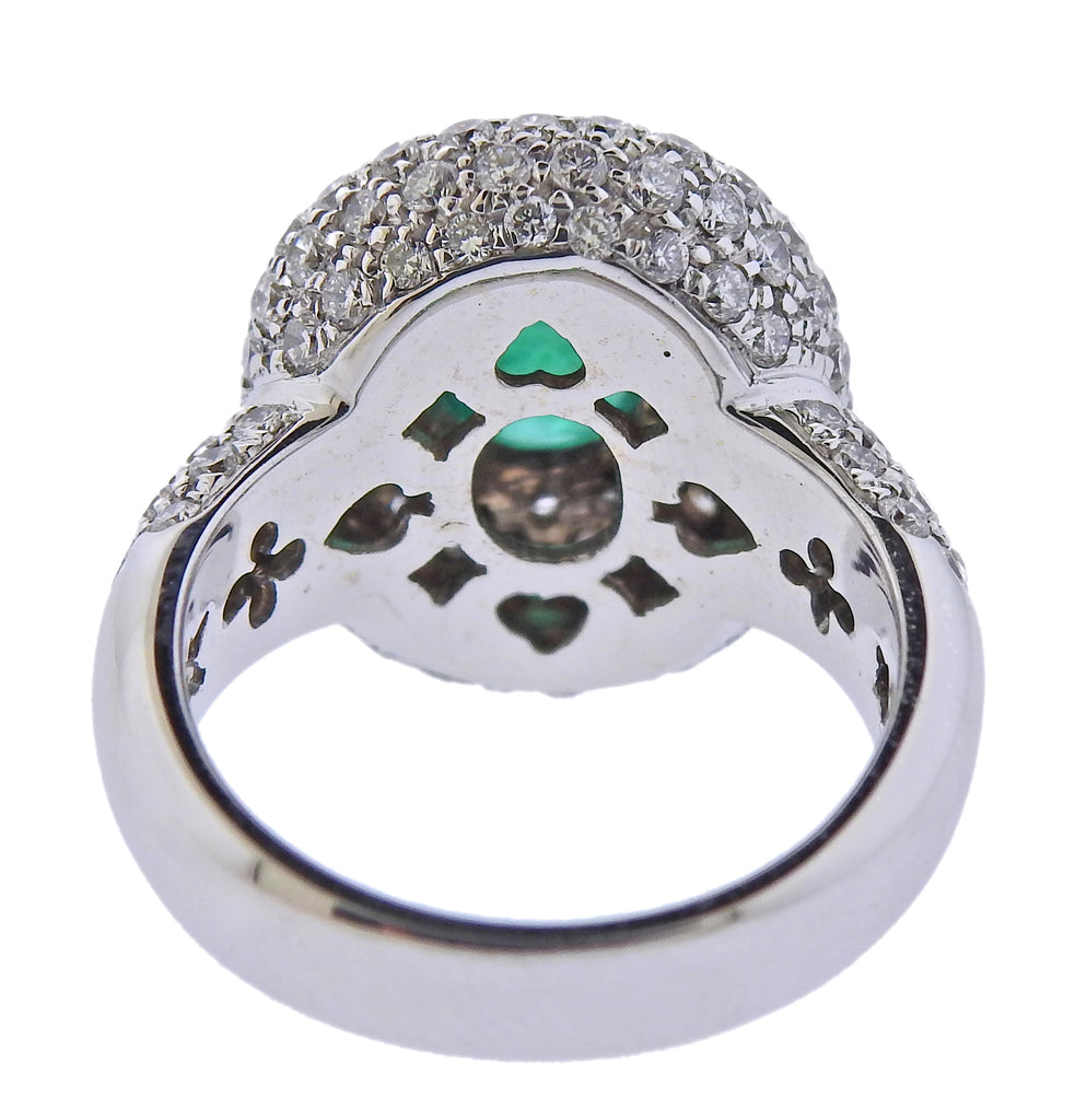 thumbnail image of Gold Diamond Emerald Ring