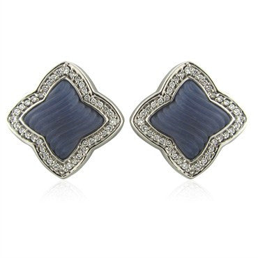 image of David Yurman 18K White Gold Diamond Quatrefoil Chalcedony Earrings