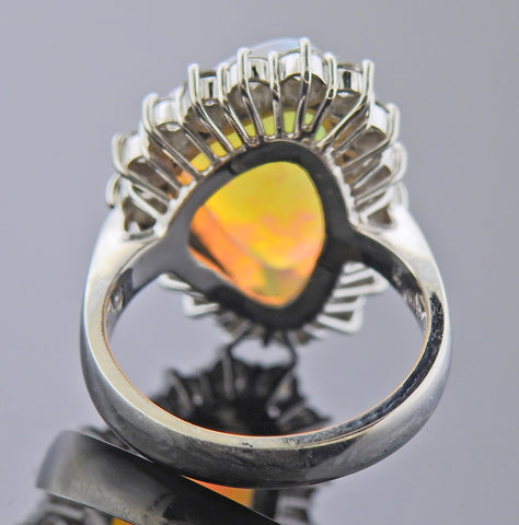 image of Platinum Diamond Opal Ring