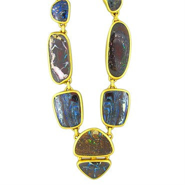 thumbnail image of New Gurhan Quilpie 24K Gold 175ct Boulder Opal Necklace