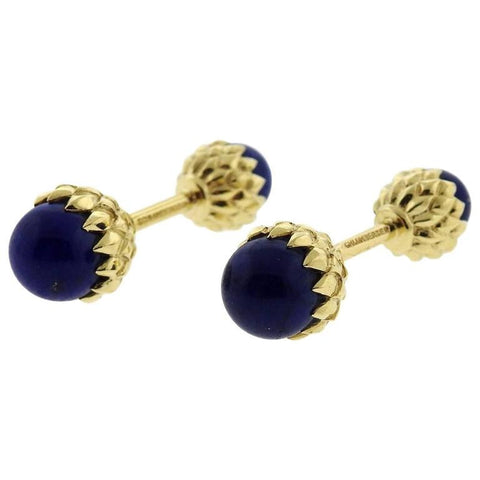 Tiffany & Co Schlumberger Acorn Gold Lapis Cufflinks