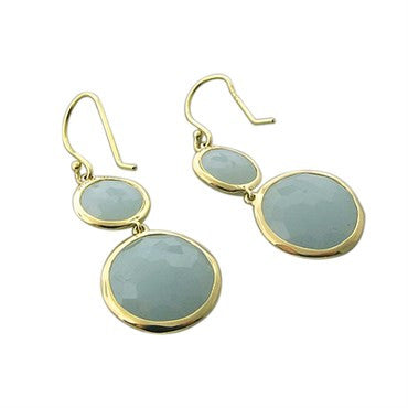 thumbnail image of New Ippolita 18K Gold Milky Aquamarine Double Round Drop Earrings