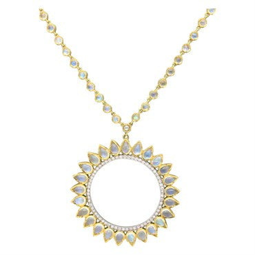 image of Irene Neuwirth Moonstone Diamond Gold Sunburst Pendant Necklace