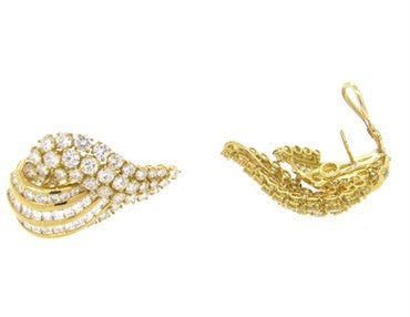 thumbnail image of Gorgeous 12 Carat Diamond 18k Gold Cocktail Earrings