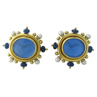 thumbnail image of Elizabeth Locke 18K Gold Sapphire Intaglio Venetian Glass Earrings