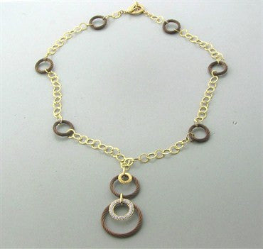 image of New Charriol Link Celtique 18K Rose Gold Bronze Steel Diamond Necklace