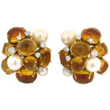 thumbnail image of Seaman Schepps Citrine Pearl Diamond 18k Gold Cocktail Earrings