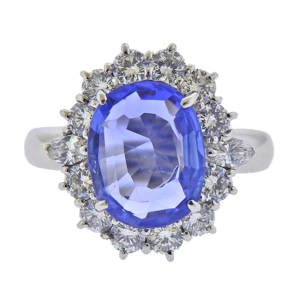 thumbnail image of Platinum No Heat Sapphire Diamond Ring