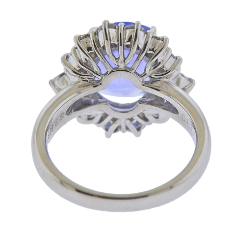 image of Platinum No Heat Sapphire Diamond Ring