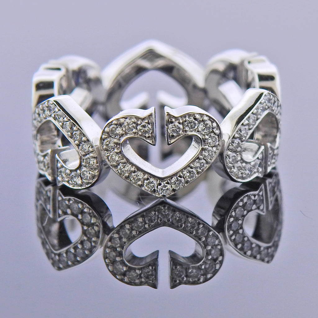 thumbnail image of Cartier C Gold Diamond Heart Band Ring