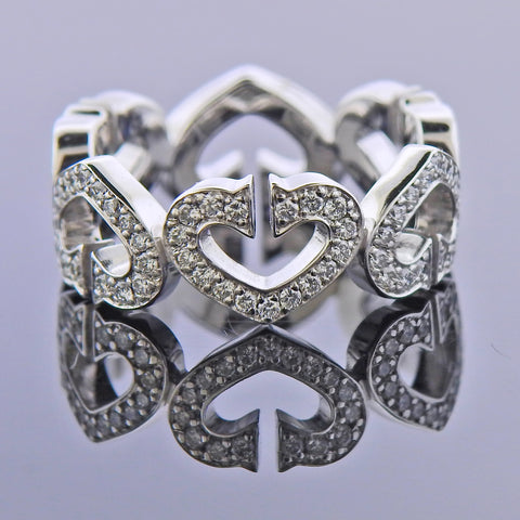 image of Cartier C Gold Diamond Heart Band Ring