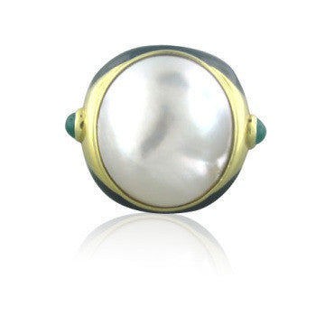 image of Tambetti 18k Gold Mabe Pearl Emerald Black Enamel Ring