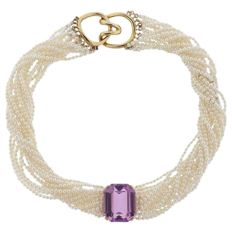 thumbnail image of Tiffany & Co Angela Cummings Kunzite Pearl Gold Torsade Necklace