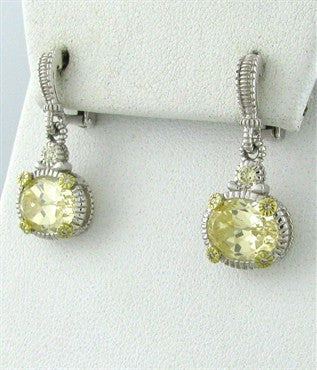 thumbnail image of Judith Ripka Sterling 18K Gold Canary Crystal Diamond Drop Earrings