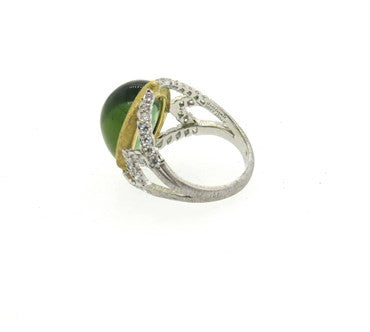 thumbnail image of Buccellati Syphony Green Tourmaline Diamond 18k Gold Ring
