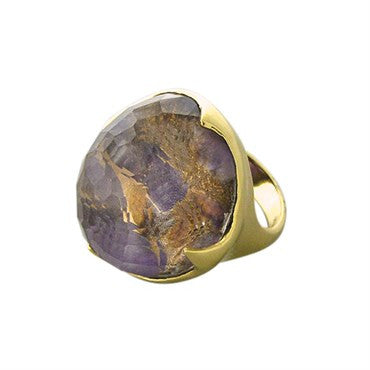 thumbnail image of New Ippolita 18K Gold Amethyst Bronze Matrix Crystal Large Ring