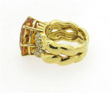 thumbnail image of Kaufmann de Suisse Double Flow Citrine Diamond 18k Gold Ring