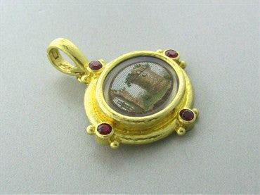 thumbnail image of Elizabeth Locke 19K Gold Ruby Micro Mosaic Mother Of Pearl Pendant