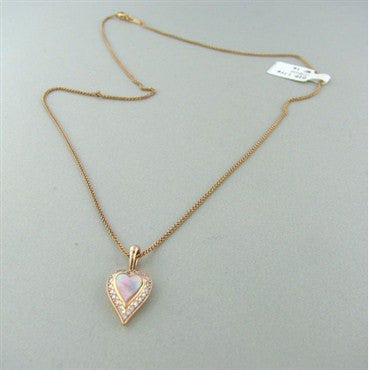 image of New Kabana Gold Mother Of Pearl Diamond Heart Necklace