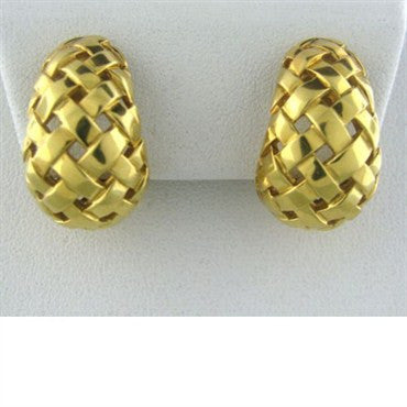image of Tiffany & Co 18k Gold Basket Weave Wide Hoop Earrings