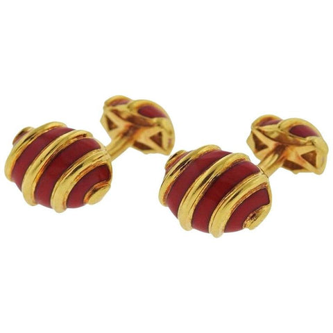 Classic Red Enamel Gold Cufflinks