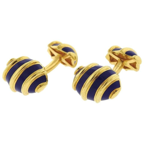 Blue Enamel Gold Cufflinks