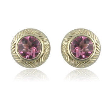image of Krypell Sterling 14k Gold Round Pink Topaz Earrings