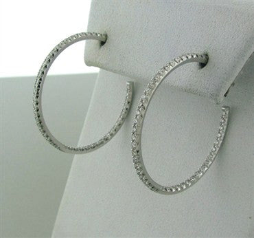 thumbnail image of Tiffany & Co Metro 18K White Gold Diamond Hoop Earrings