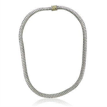 image of Estate John Hardy Dot Collection Sterling Silver 18K Gold Necklace