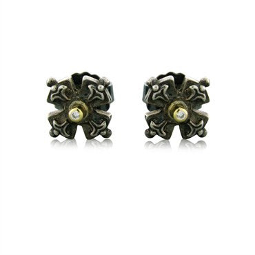 image of Estate Konstantino Sterling Silver 18k Yellow Gold Diamond Earrings