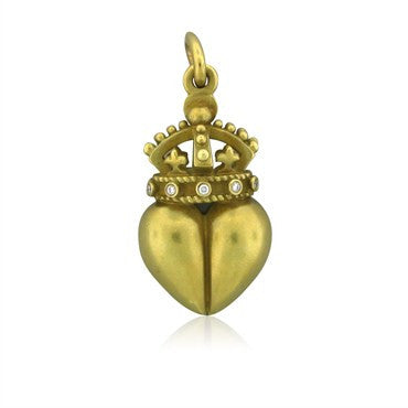 image of Kieselstein Cord 18K Yellow Gold Diamond Heart Crown Enhancer Pendant