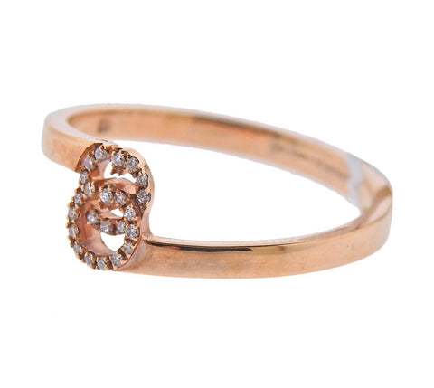 image of Gucci Rose Gold Diamond Running G Ring