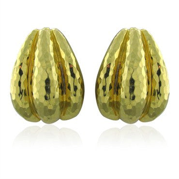 thumbnail image of Large Henry Dunay Hammered 18k Yellow Gold Earrings 37g