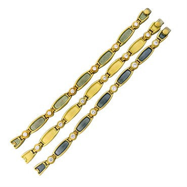 thumbnail image of Leo De Vroomen 18K Gold Diamond Enamel Bracelet Set