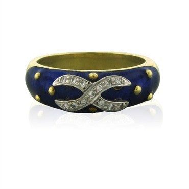 thumbnail image of Hidalgo 18K Yellow Gold Blue Enamel Diamond Ring