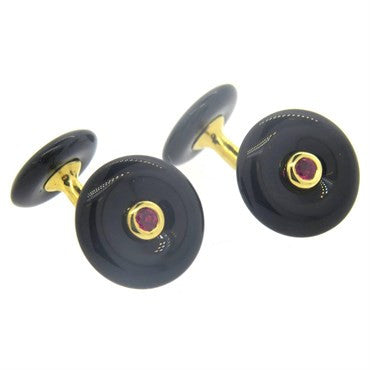 thumbnail image of Trianon Onyx Ruby 18k Gold Cufflinks