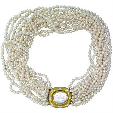 image of Elizabeth Locke Venetian Glass Pearl Intaglio Gold Torsade Necklace