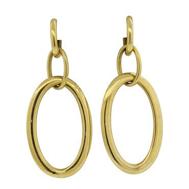 thumbnail image of Suarez 18k Gold Day & Night Circle Drop Long Earrings