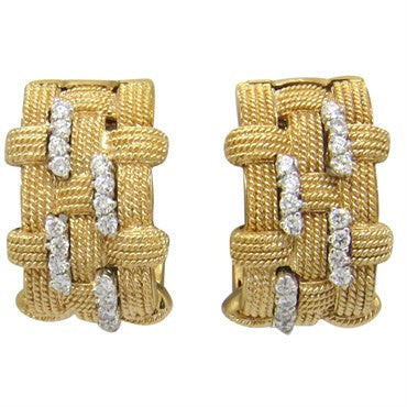 image of Roberto Coin Magnifica Diamond Gold Earrings