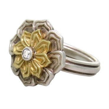 thumbnail image of Slane & Slane 18K Gold Sterling Silver Diamond Ring